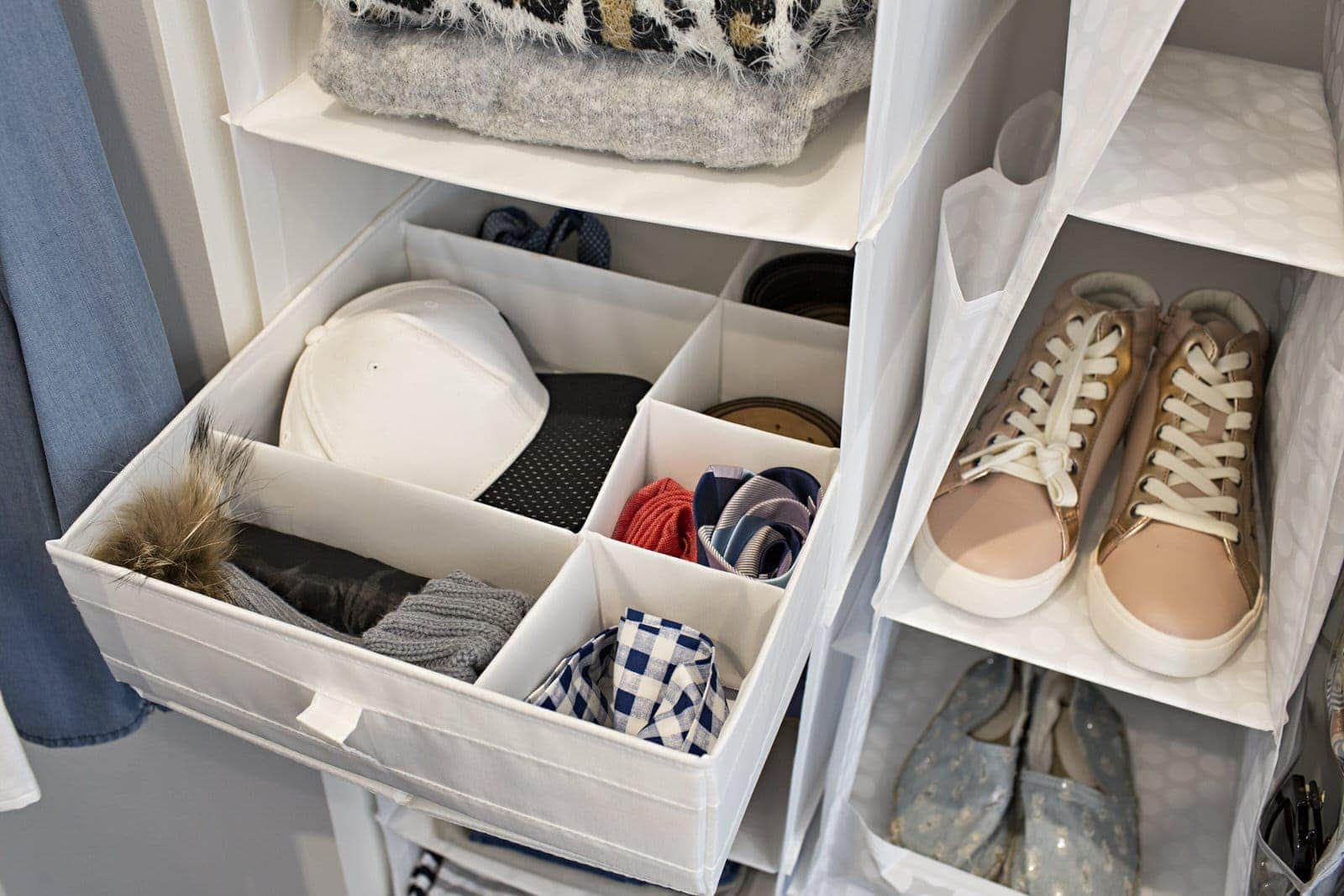 ikea hanging storage ideas in walk in wardrobe
