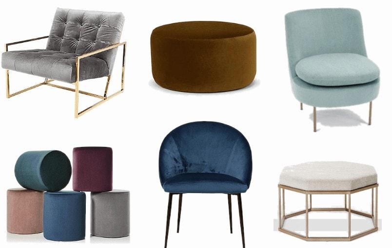 jewel toned velvet armchair and ottoman mood board