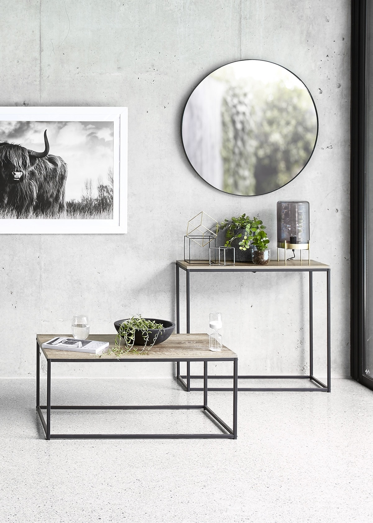 kmart industrial coffee table and side table in concrete floor living room