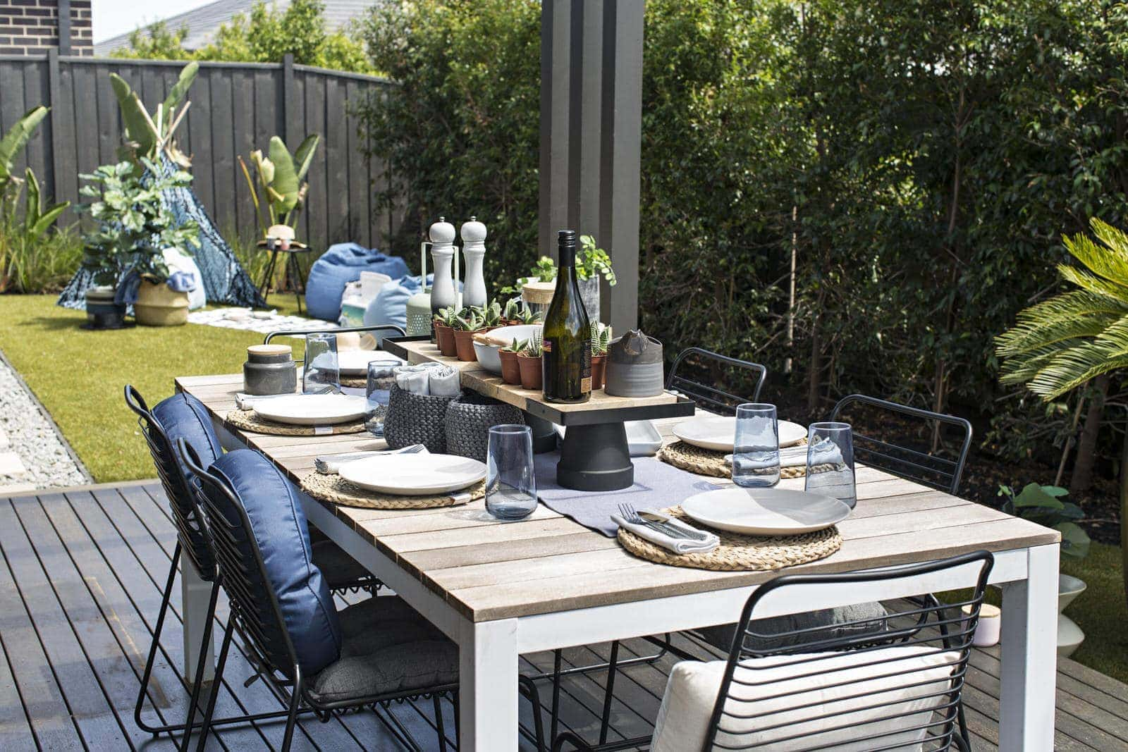 kmart outdoor cushions and black outdoor chairs
