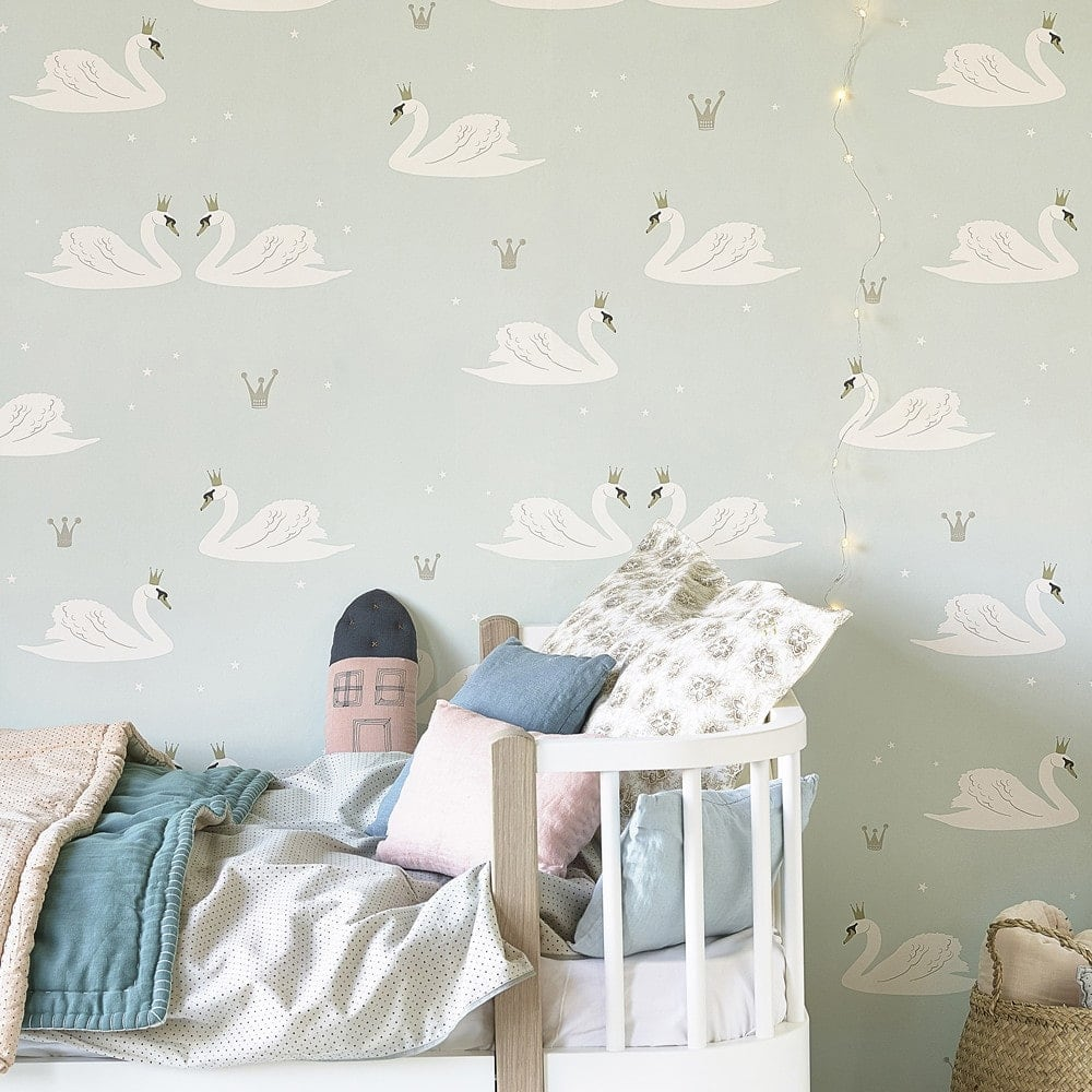 mint green swans wallpaper ideas for kids rooms natty and polly