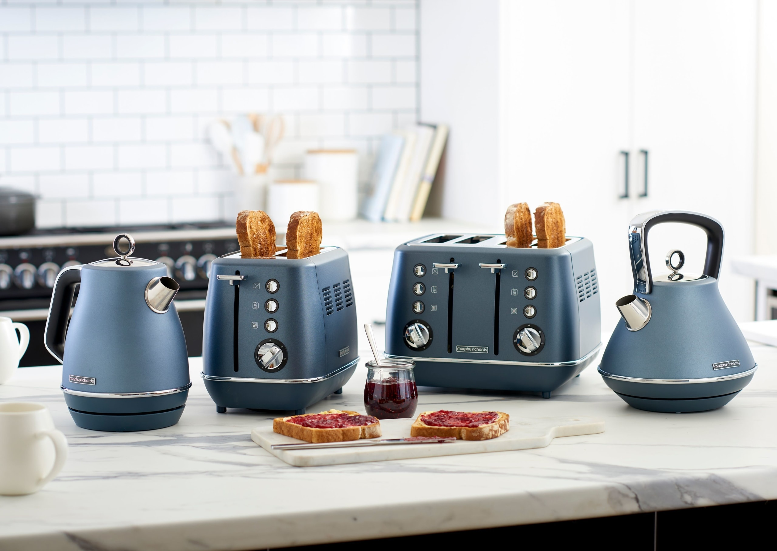 morphy richards blue kettle and toaster appliances