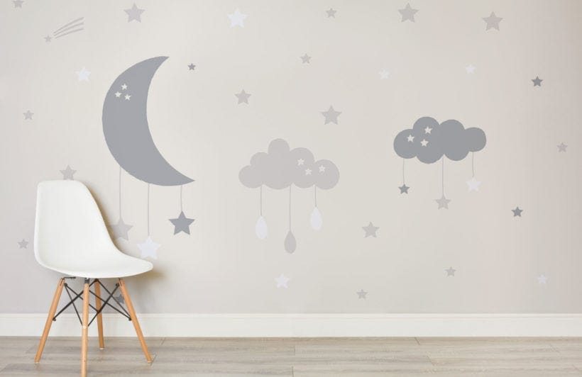 murals wallpaper baby clouds and moon wallpaper ideas for kids rooms