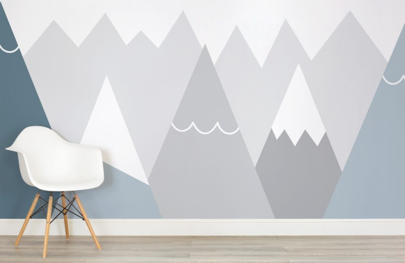 murals wallpaper grey mountains wallpaper ideas for kids room