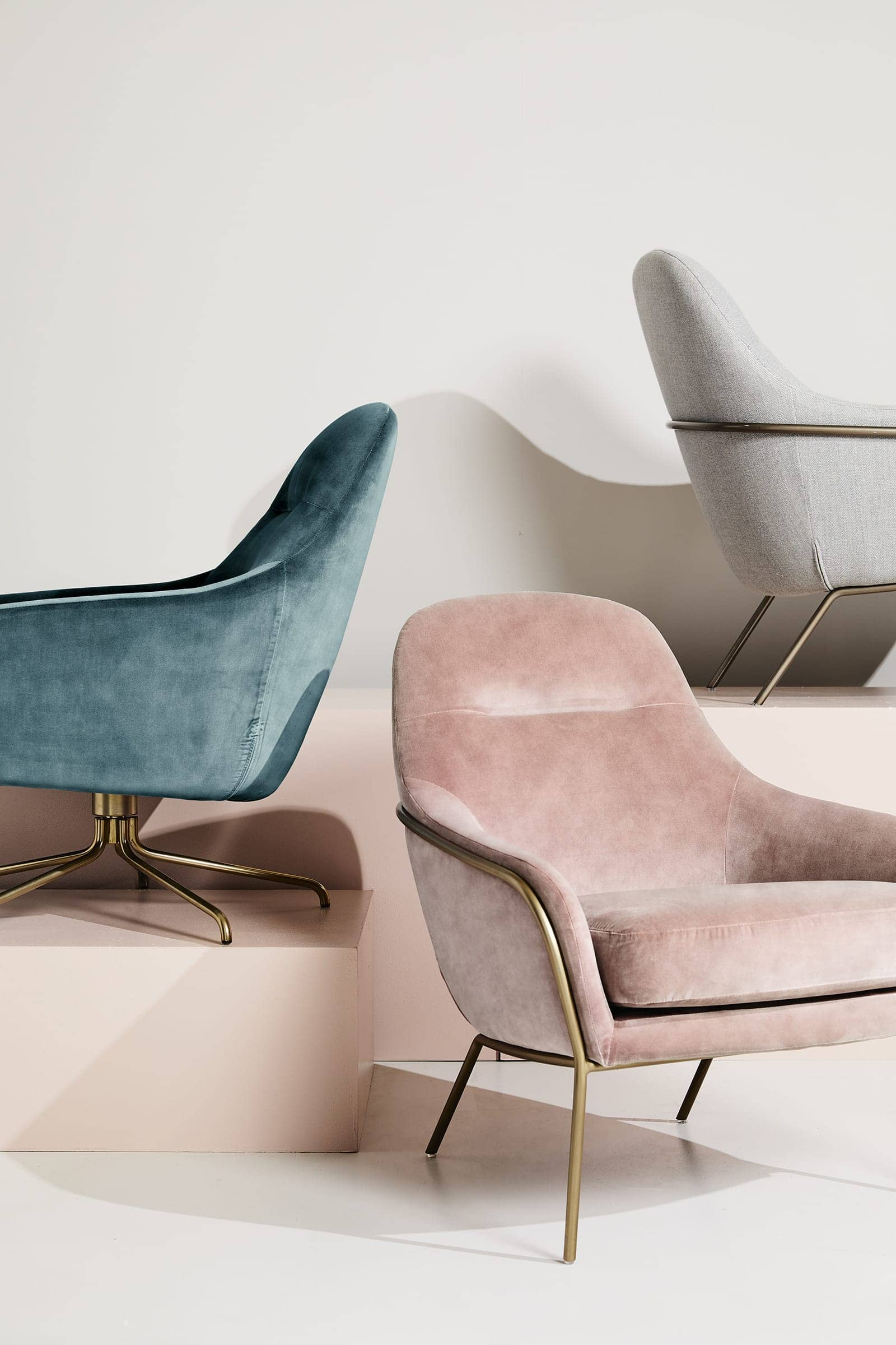 pink velvet armchair with gold legs from west elm