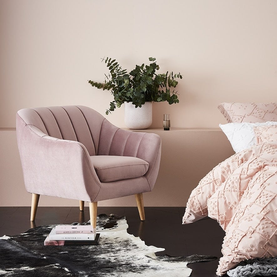 rose pink velvet armchair from adairs