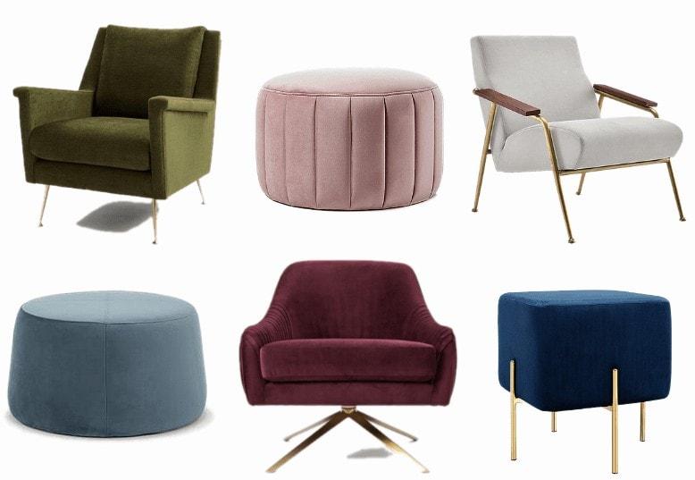 velvet armchairs and ottomans in jewel tones
