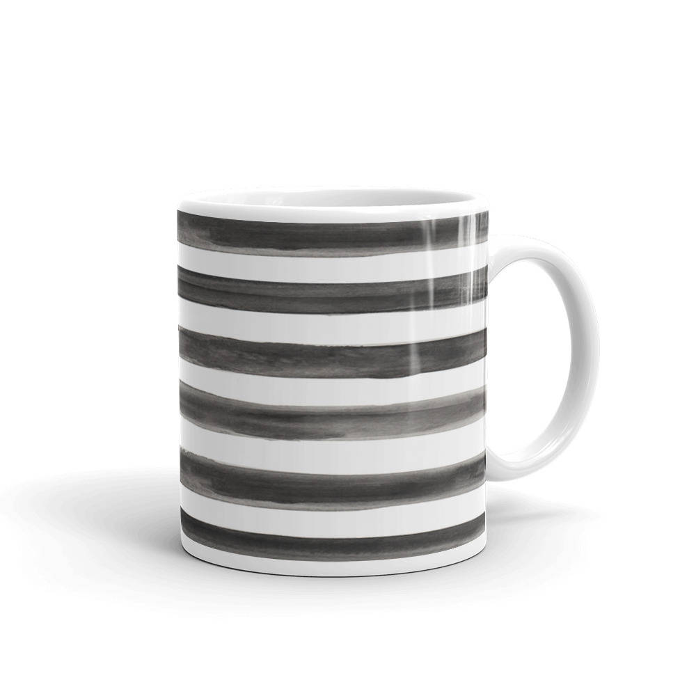 black and white stripe watercolour coffee mug by love shalmai