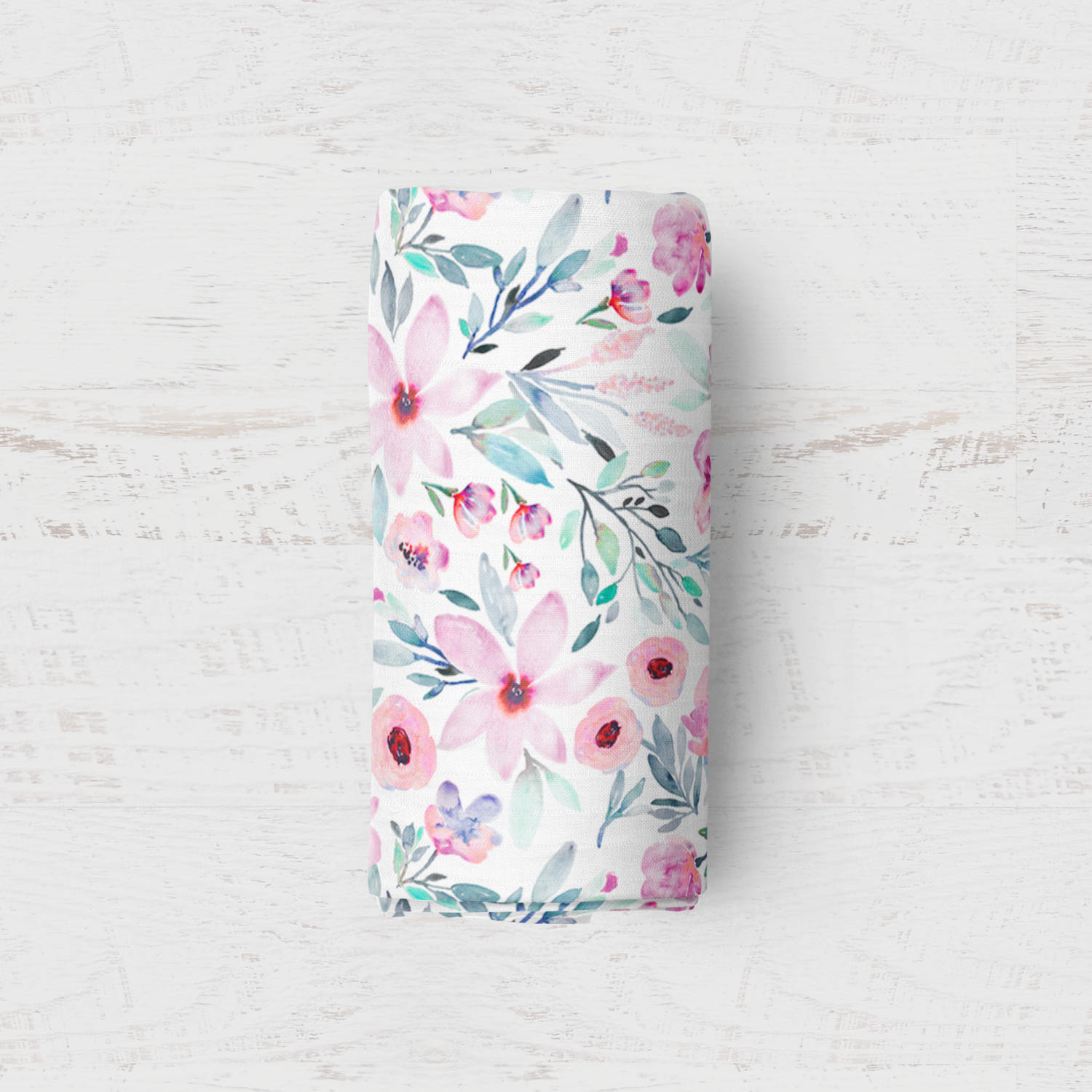 charlie and mum floral watercolour swaddle