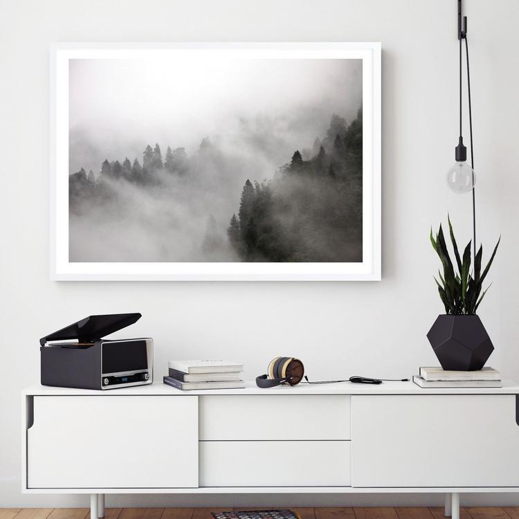 frosty forest artwork scandinavian style art from the print emporium