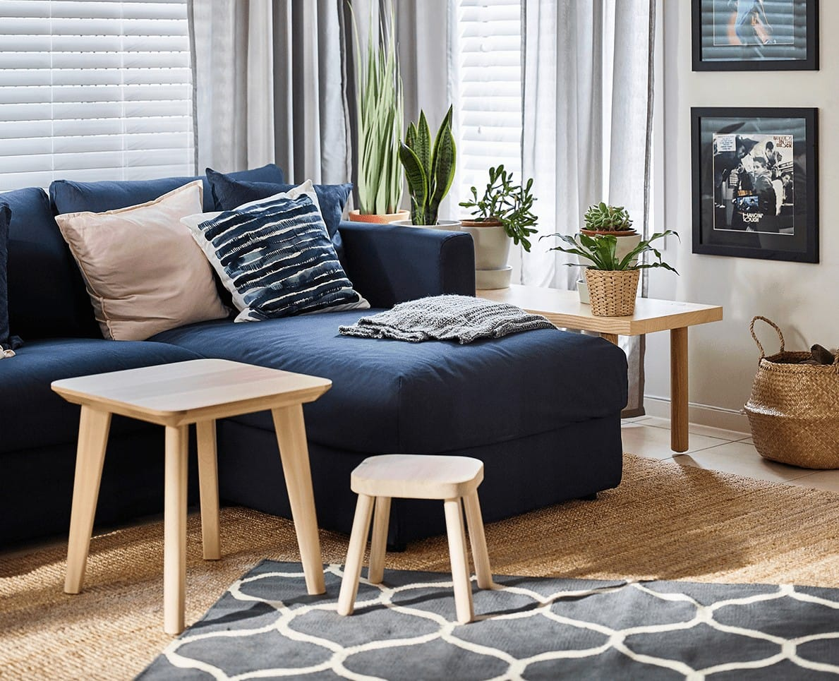 ikea navy blue sofa in living room