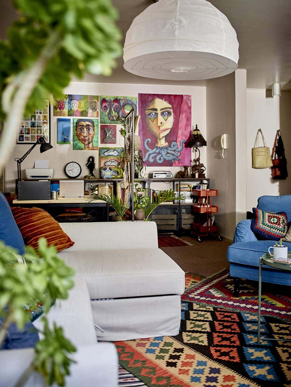 ikea sofa bed and bohemian floor rug in st kilda home