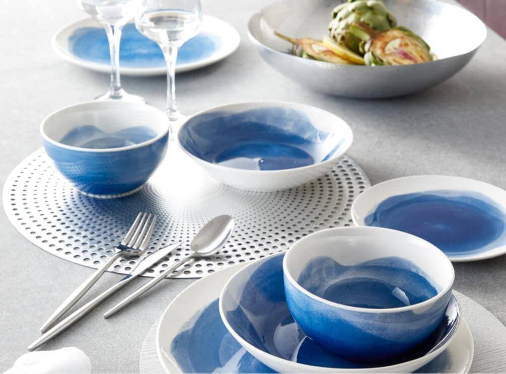 kmart blue and white watercolour plates bowls and mugs
