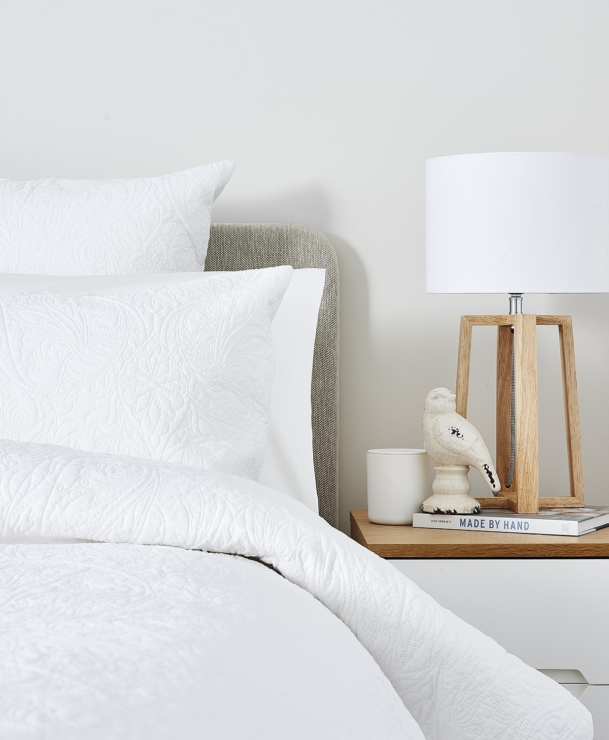 lorraine lea nook all white bedroom with quilted bed linen