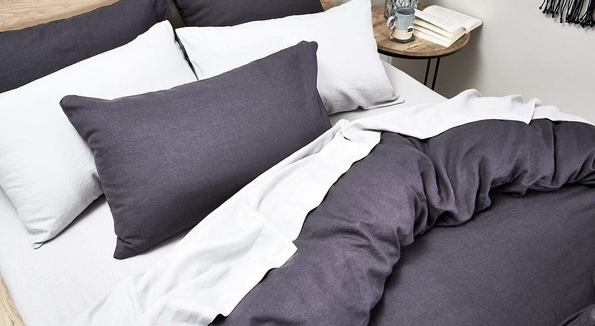 lorraine lea nook dark grey bed linen styling