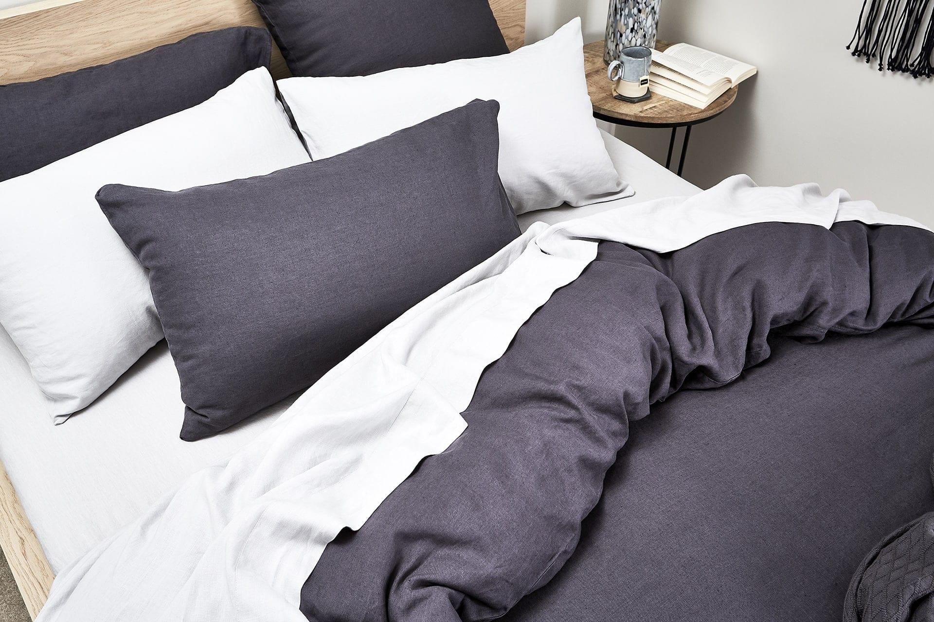 lorraine lea nook dark grey bed linen styling