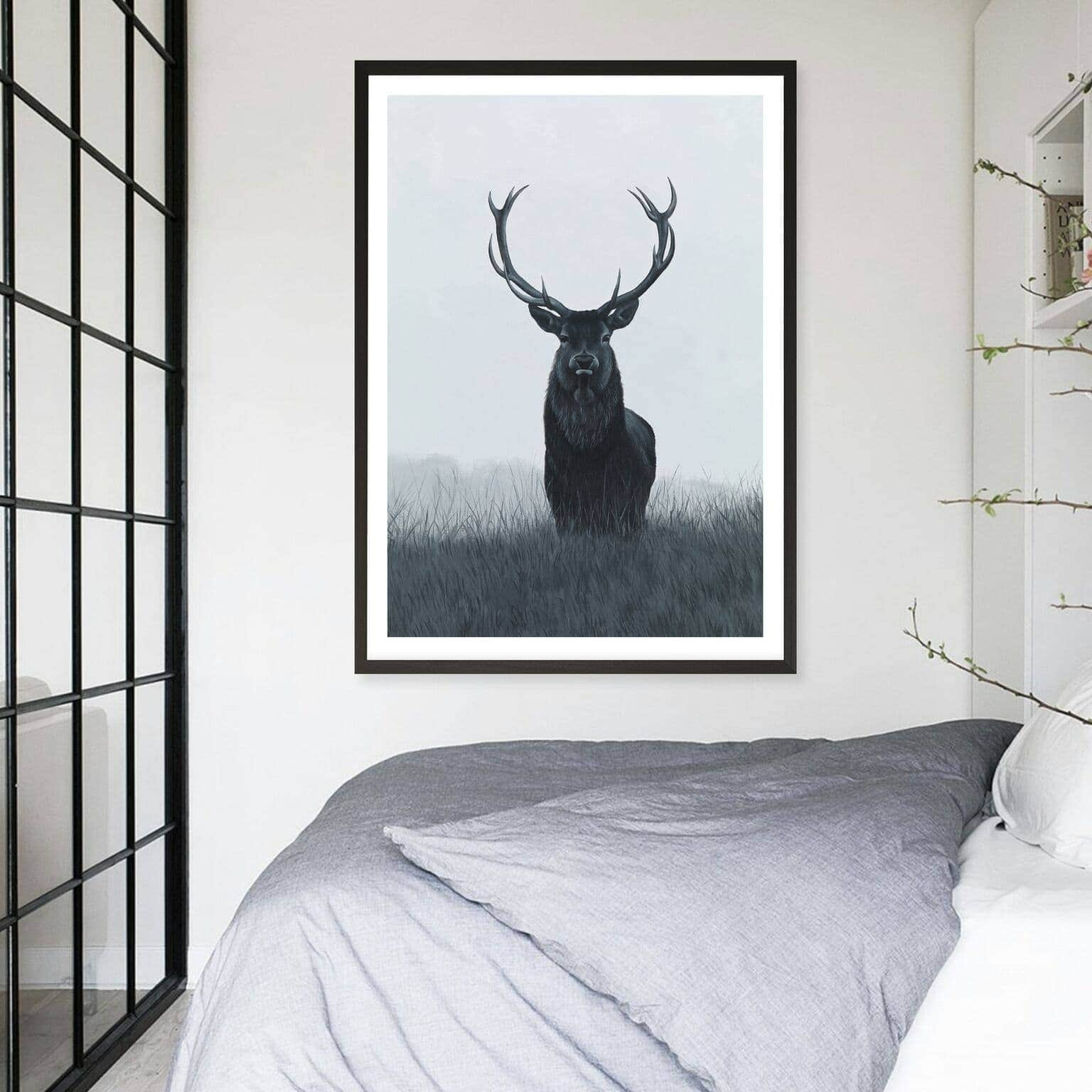 scandinavian style art with elk art print from the print emporium