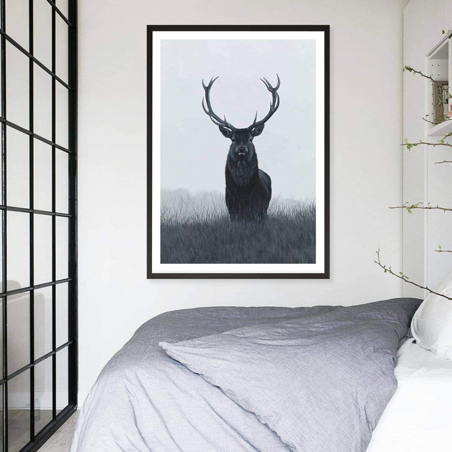 scandinavian style art with elk art print from the print emporium