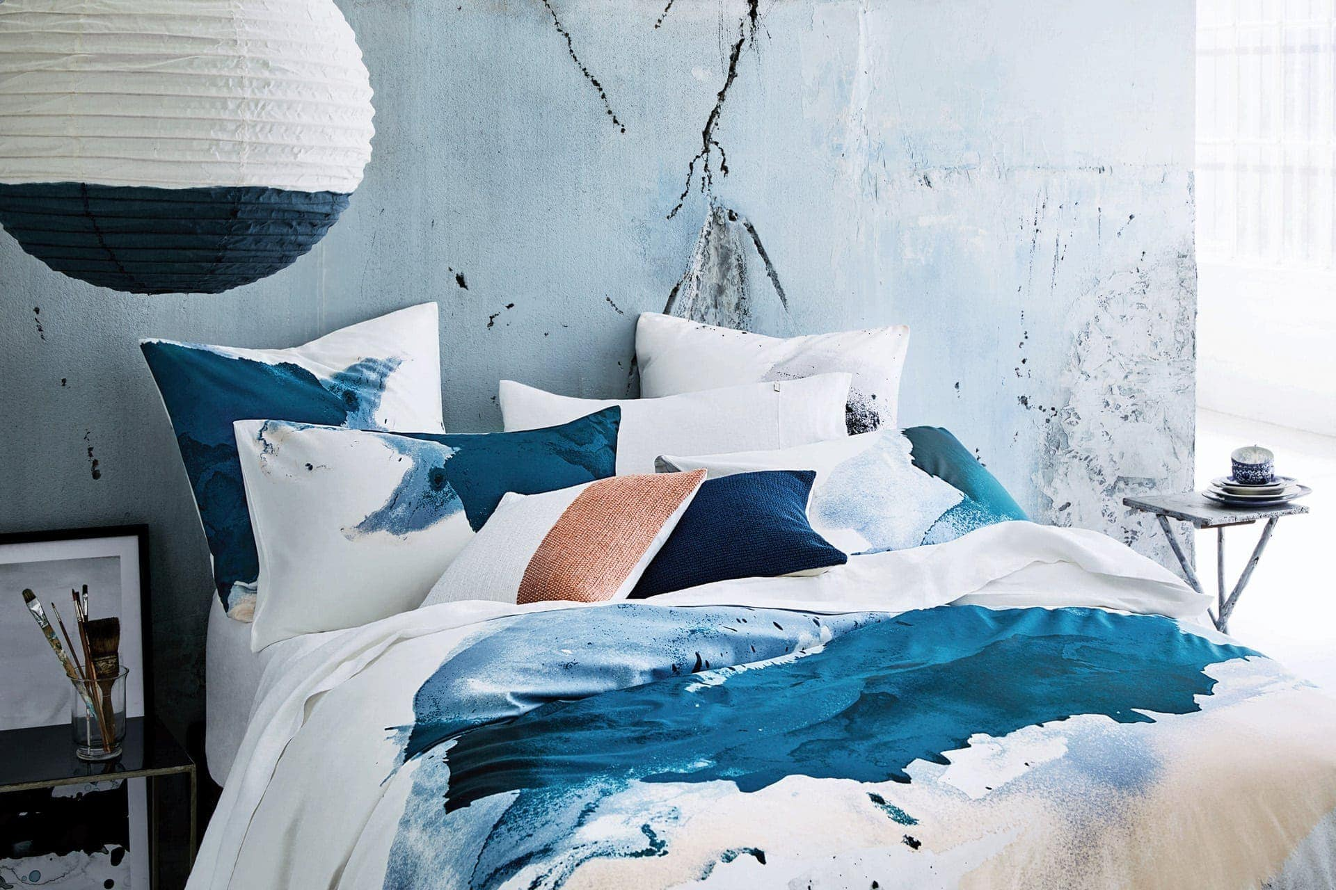 sheridan jarret watercolour quilt cover in blue
