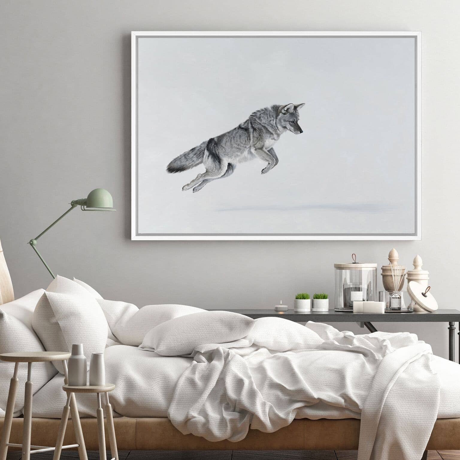 snow fox art scandinavian style art from the print emporium