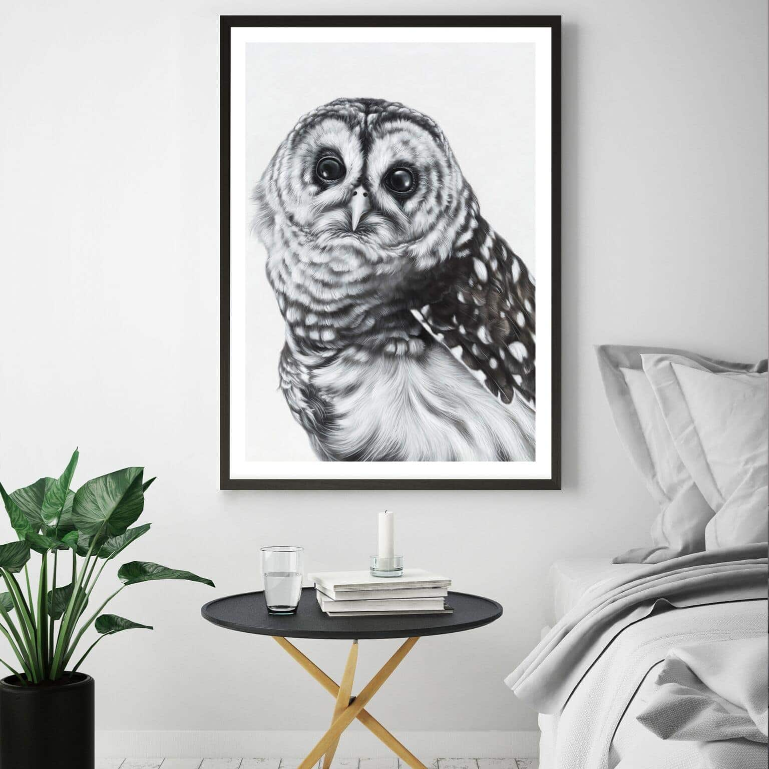 snow owl art scandinavian style art from the print emporium