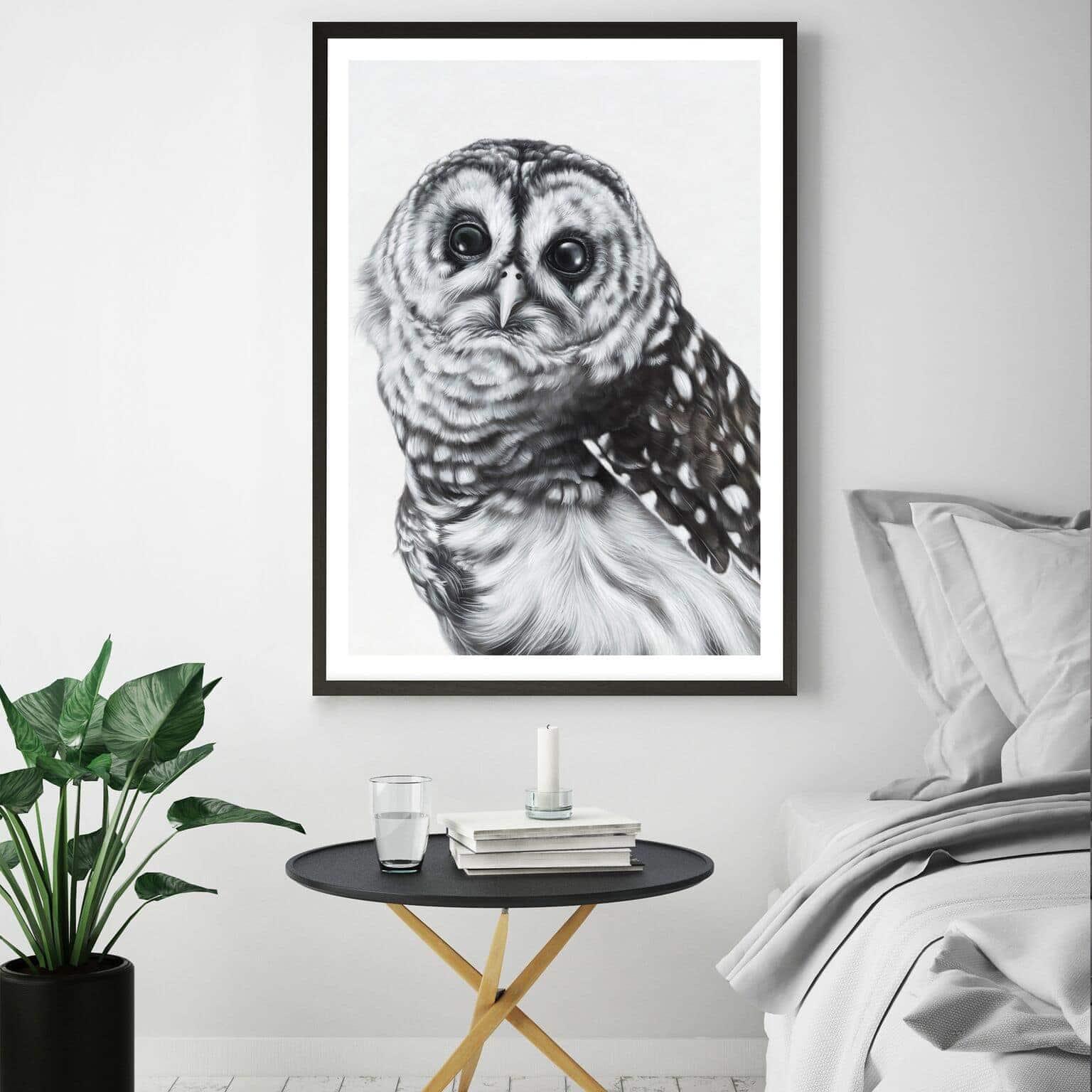 snow owl art scandinavian style art from the print emporium