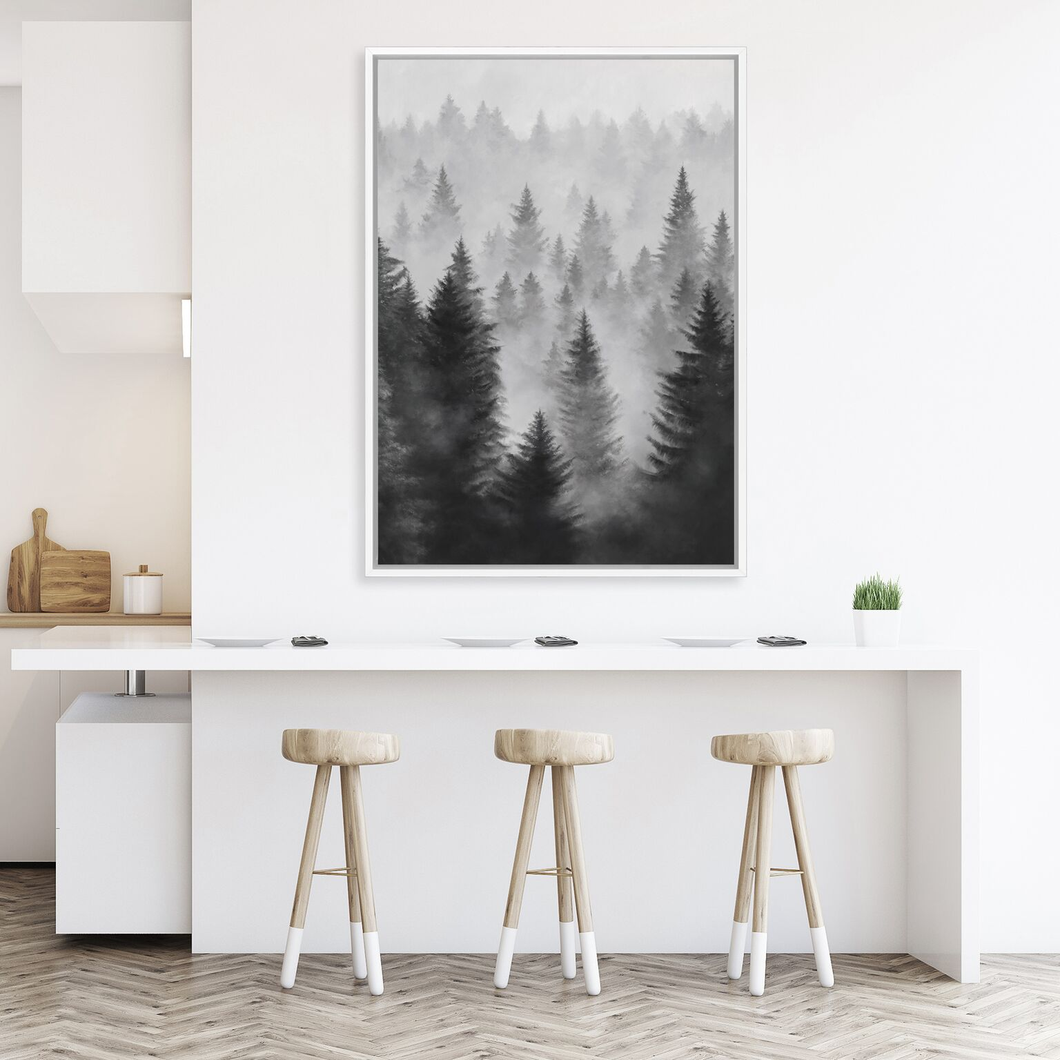 the print emporium misty forest art print black and white scandinavian art
