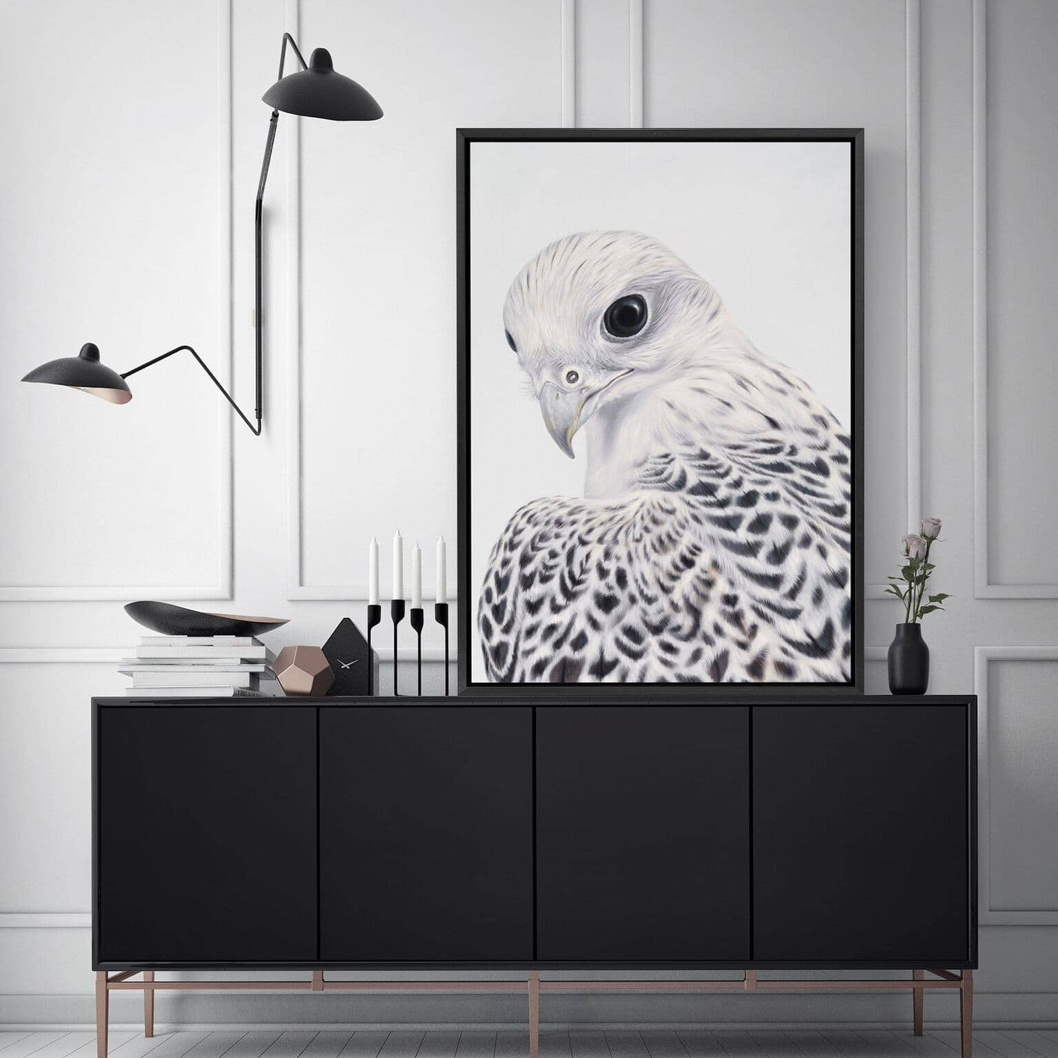white falcon art scandinavian style art from the print emporium