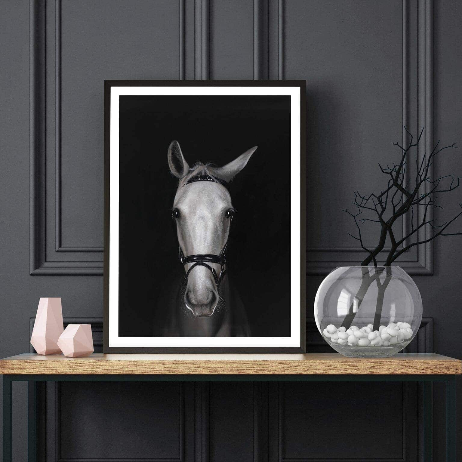 white horse in shadows art scandinavian style art from the print emporium