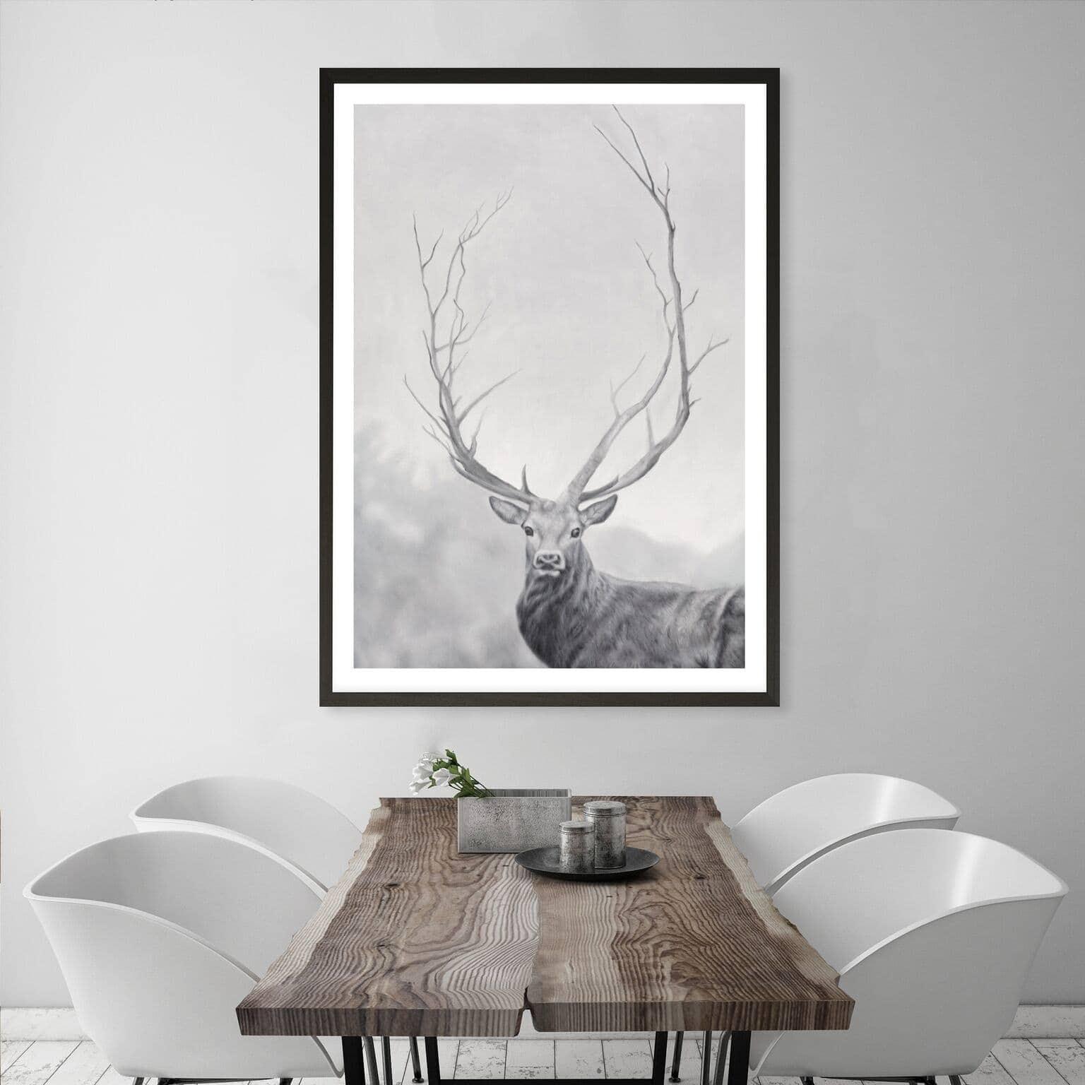 winter elk artwork scandinavian style art from the print emporium