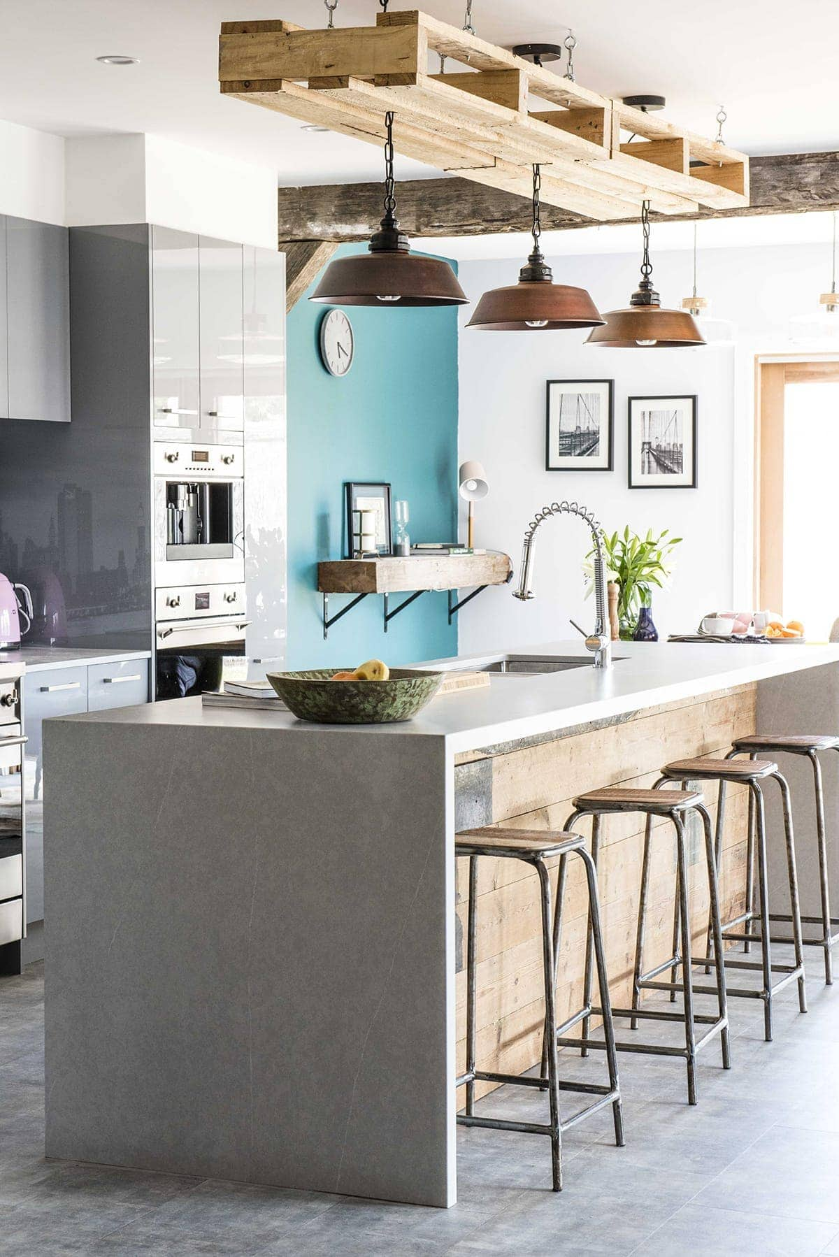 House Rules 2018 Jess and Jared kitchen with industrial bar stools