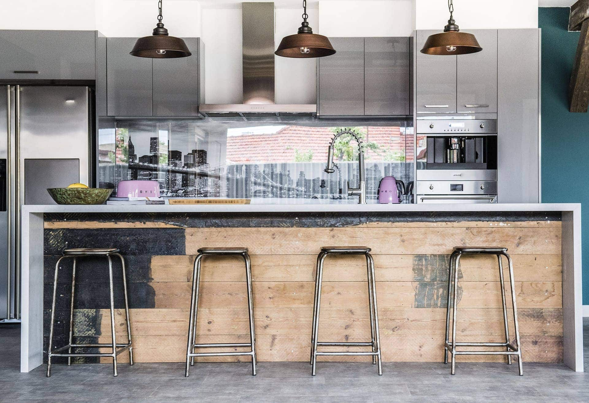 House Rules 2018 Jess and Jared kitchen with industrial pendants over bench