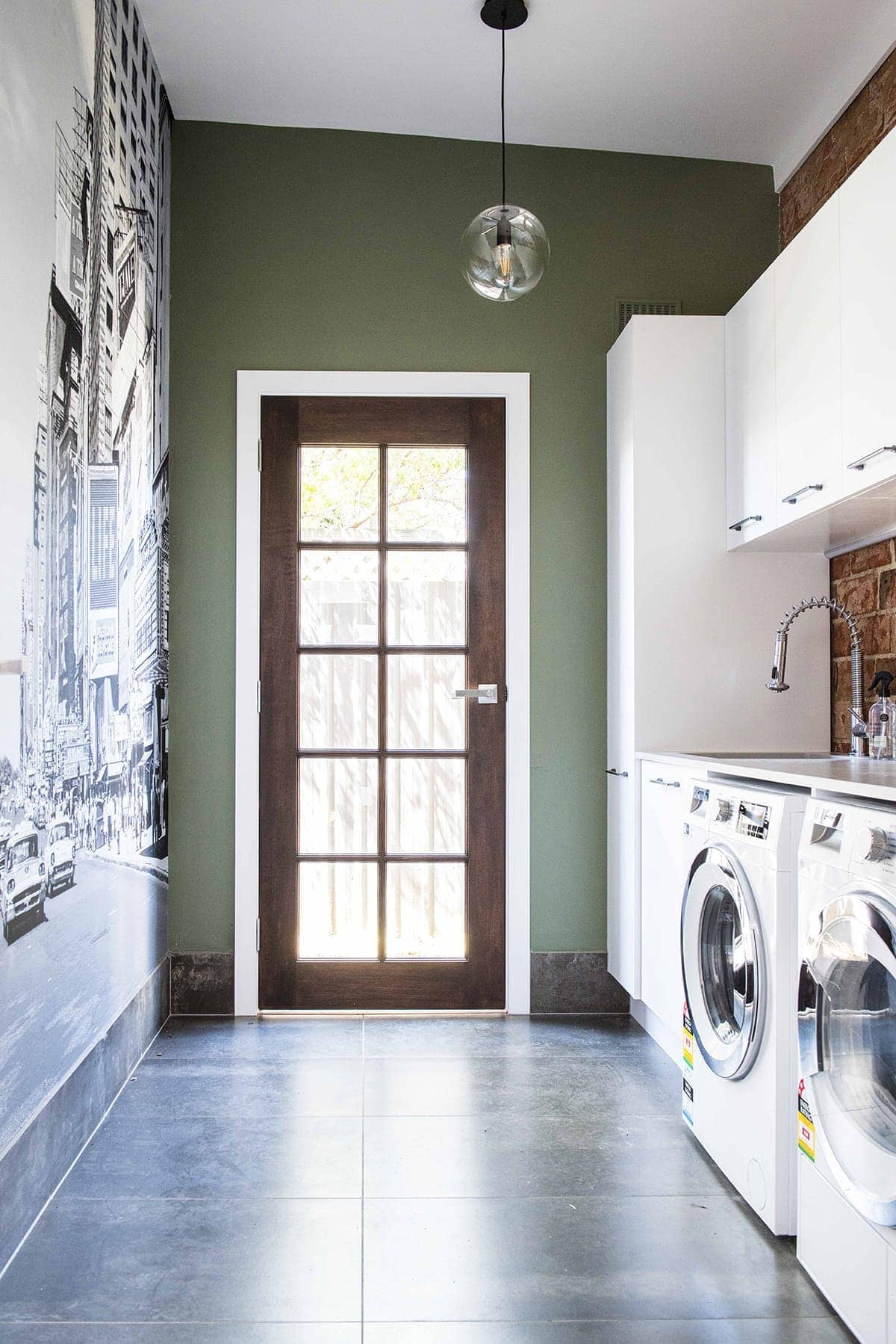 House Rules 2018 Jess and Jared laundry with dark green wall