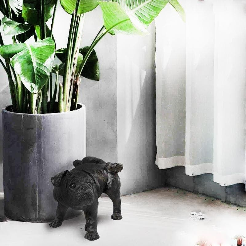 black resin dog statue from white moose