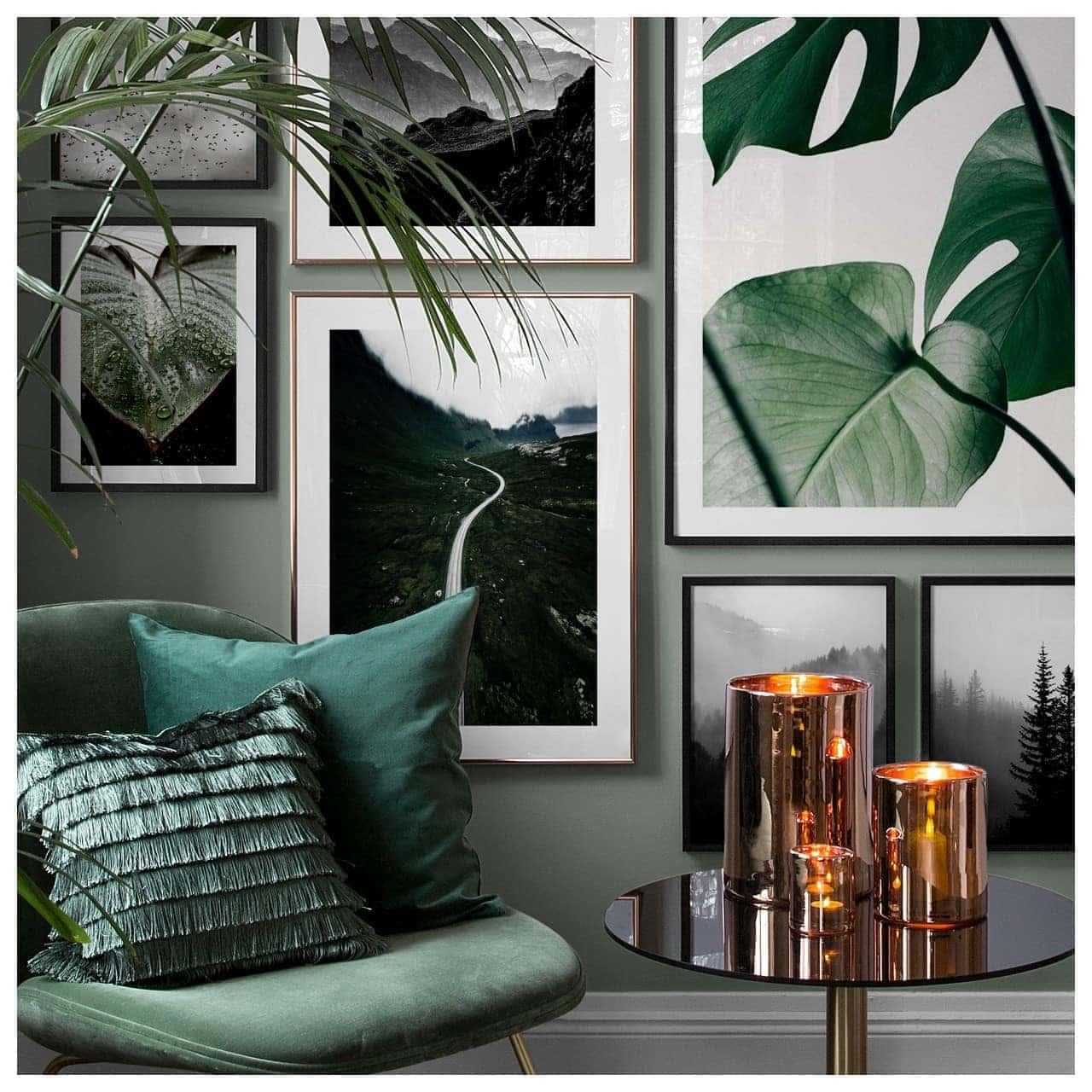 botanical interior design ideas green and white living room