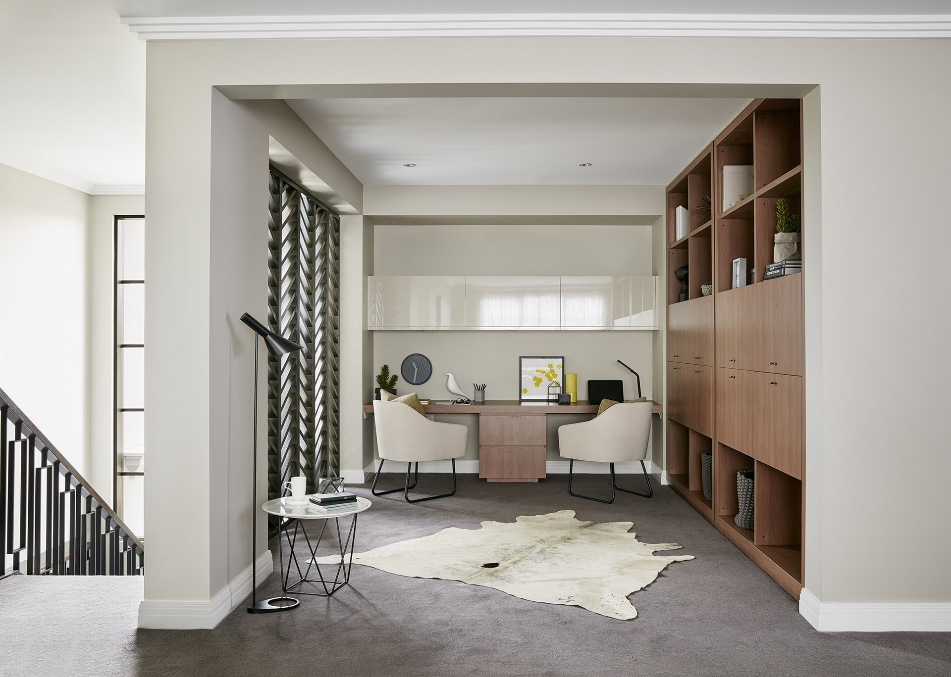 built in study nook in metricon display home office with hide rug