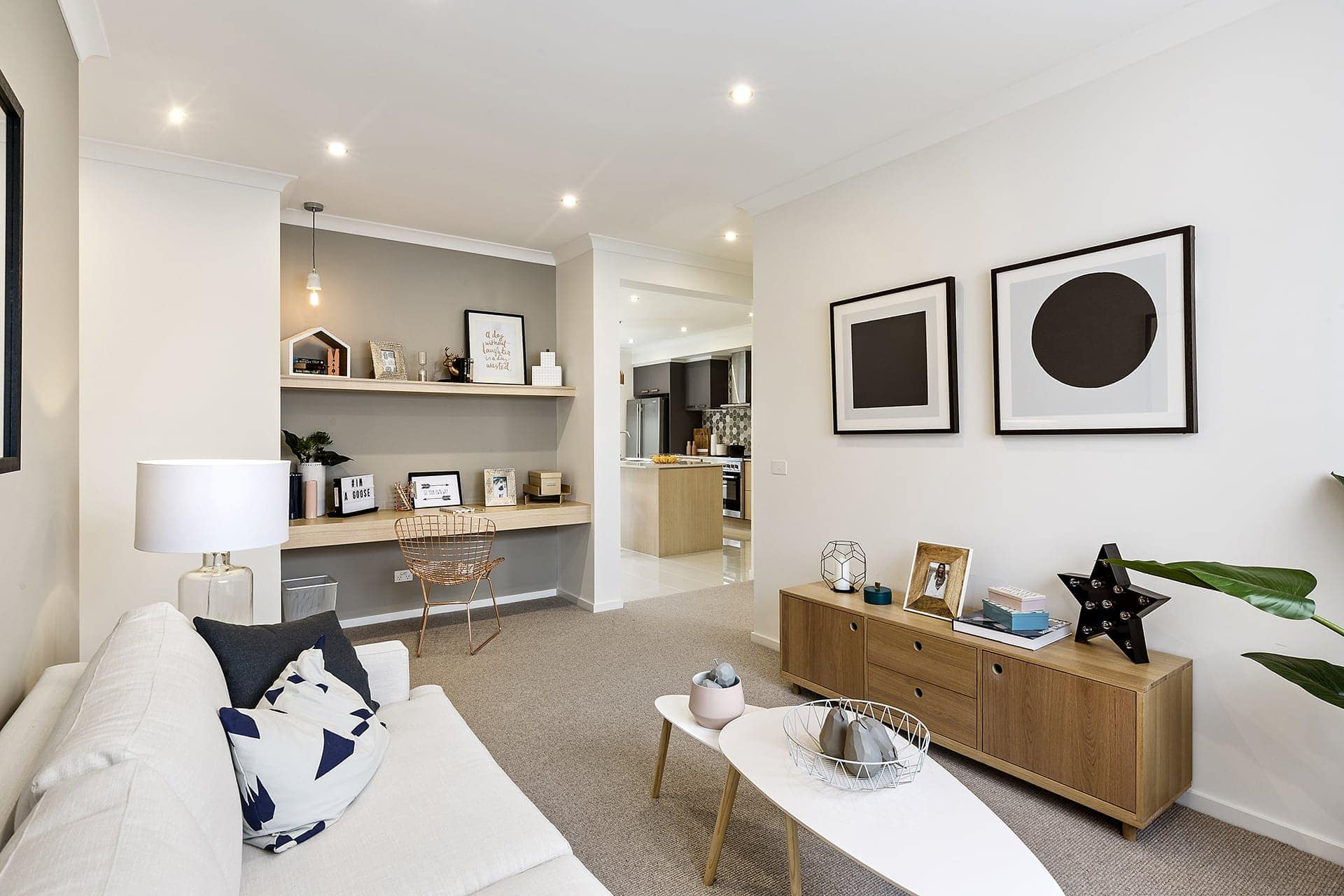 built in study nook with shelving in metricon display home