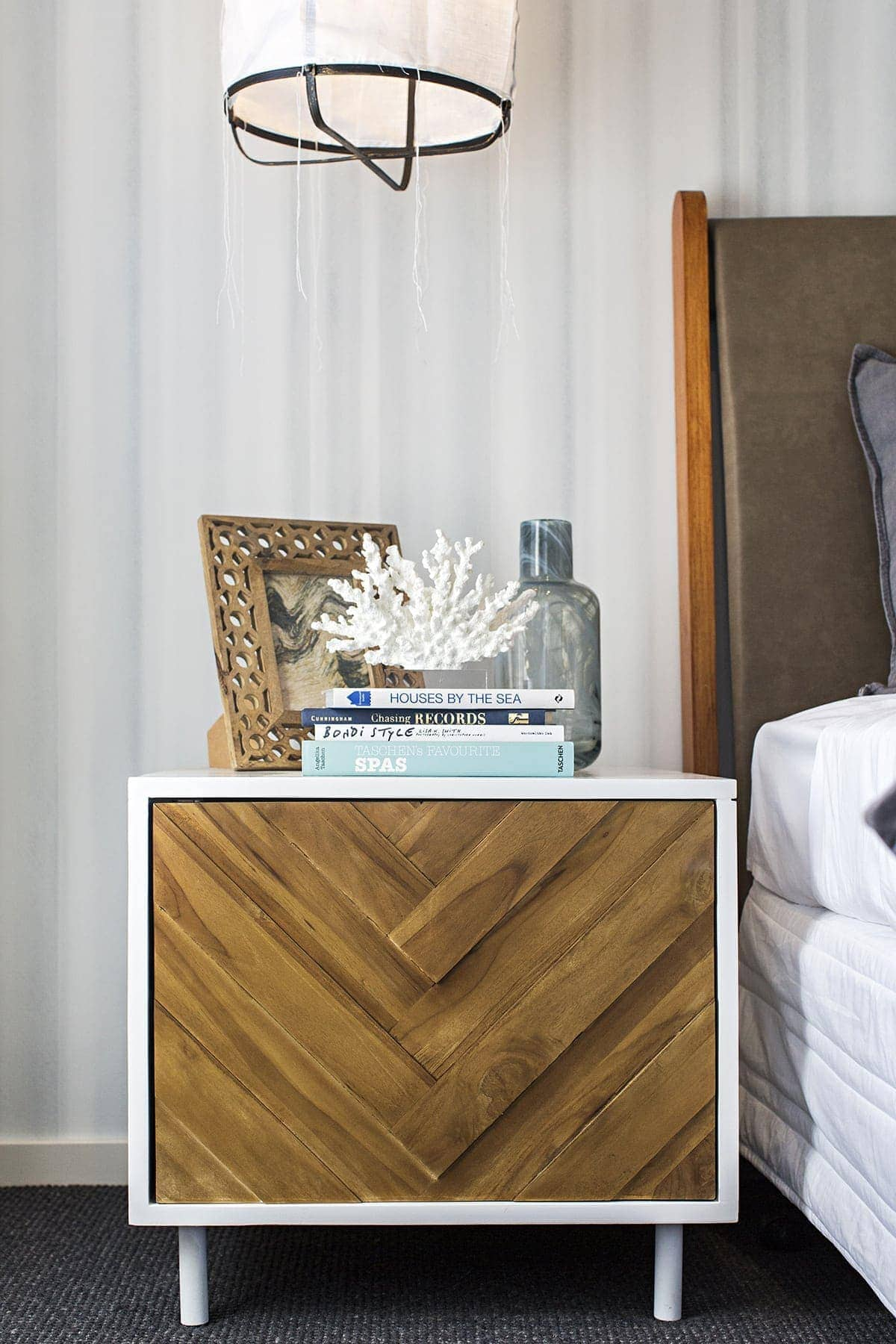 coastal bungalow bedside drawers with coastal styling on top
