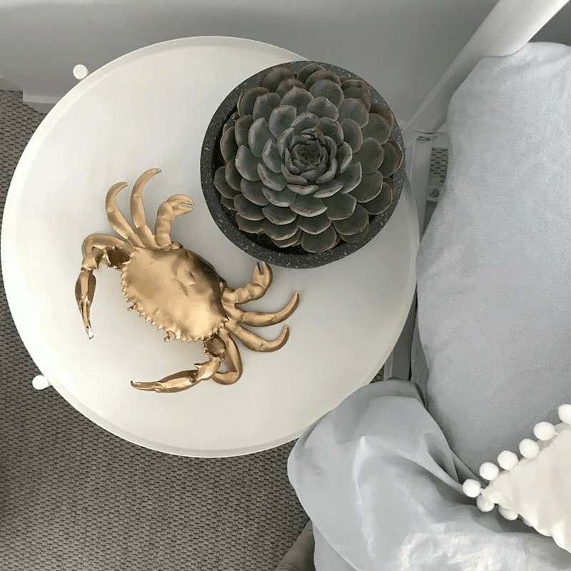 gold crab ornament from white moose