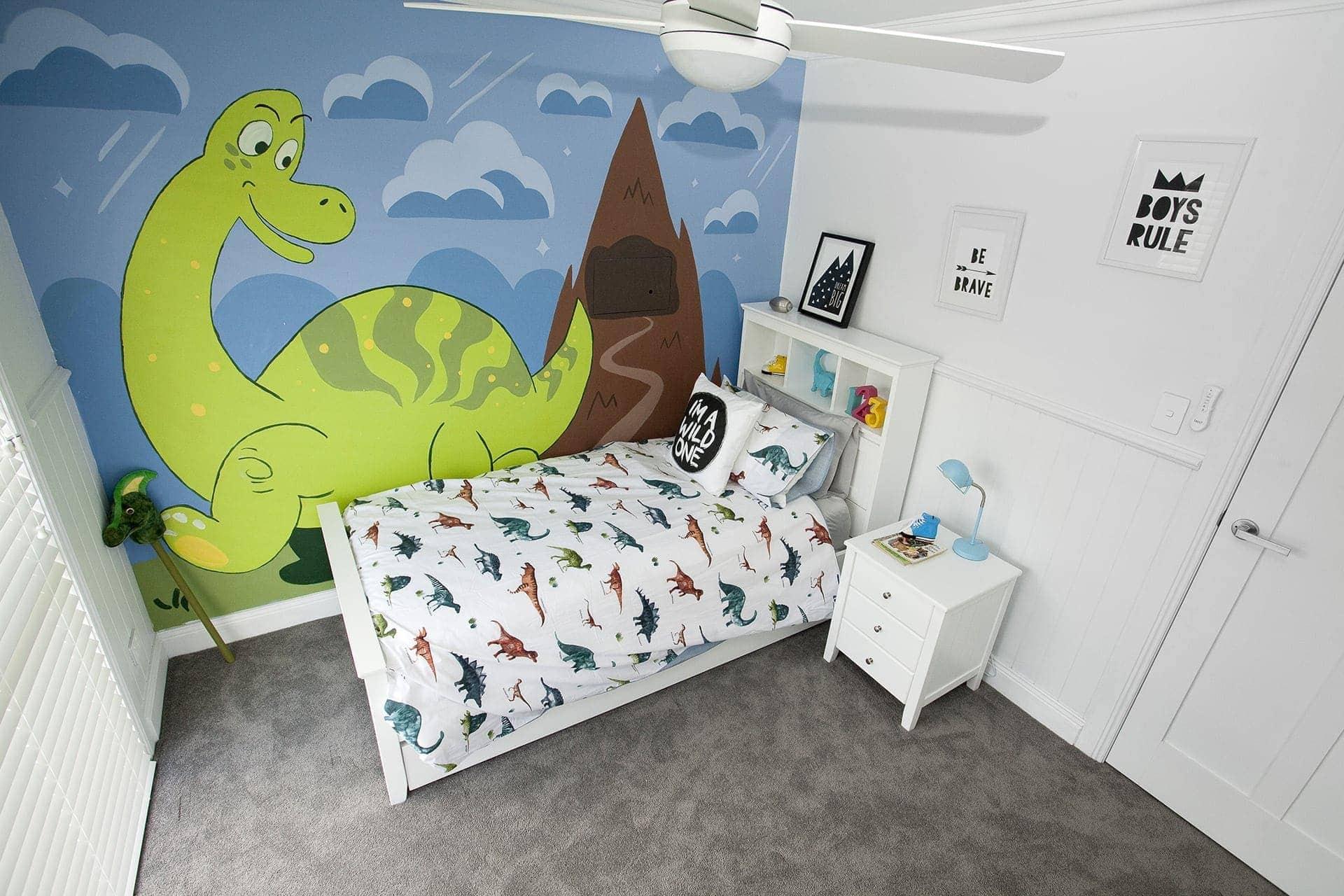 house rules 2018 mel and dave kids bedroom with dinosaur wallpaper