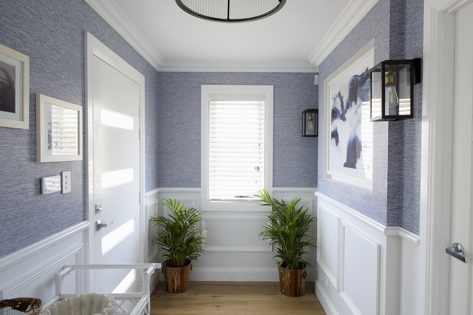 house rules 2018 mel and dave reveal entryway with hamptons wallpaper