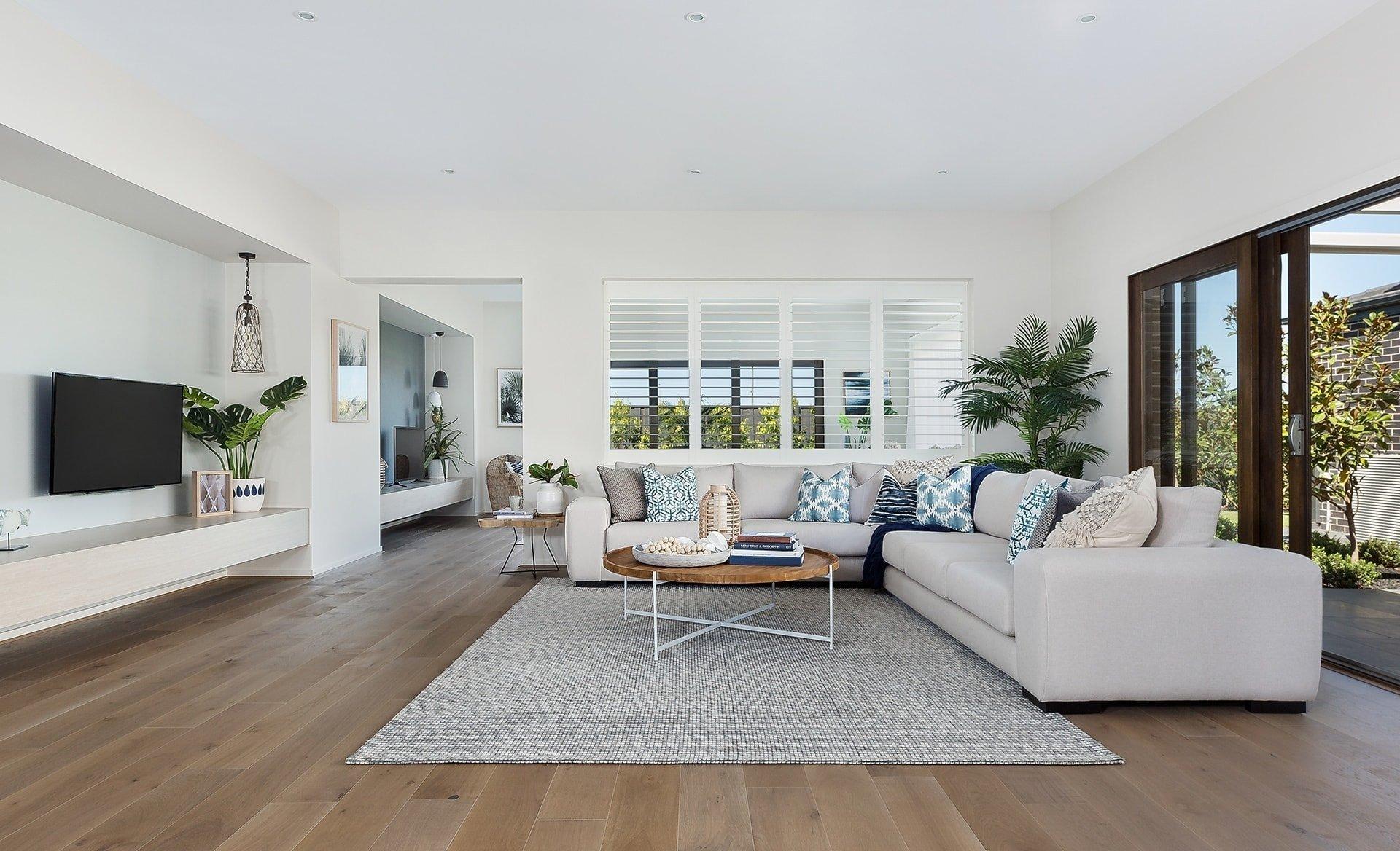 modern coastal living room ideas beige sofa with coastal cushions