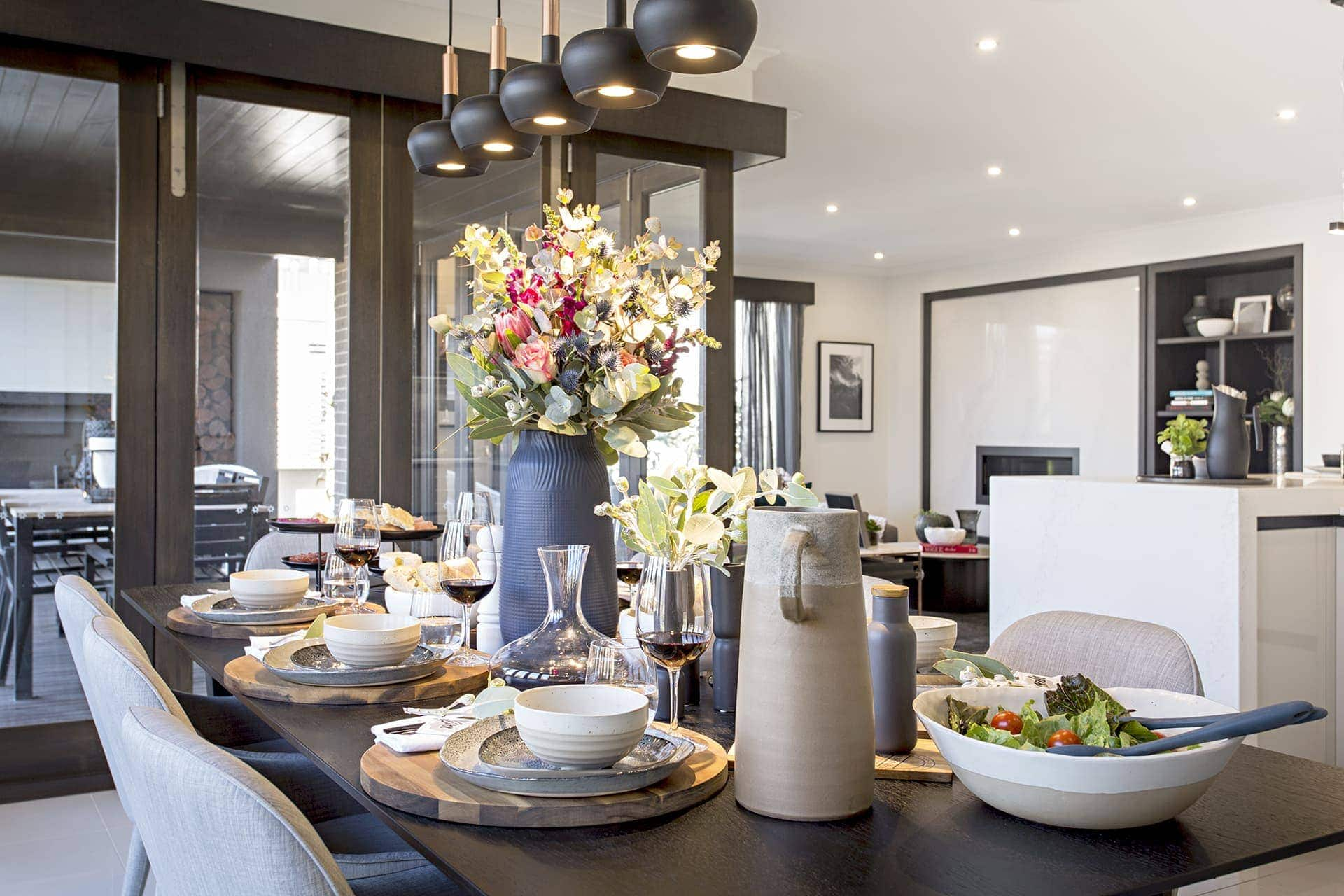 rustic table styling ideas black dining table and grey chairs