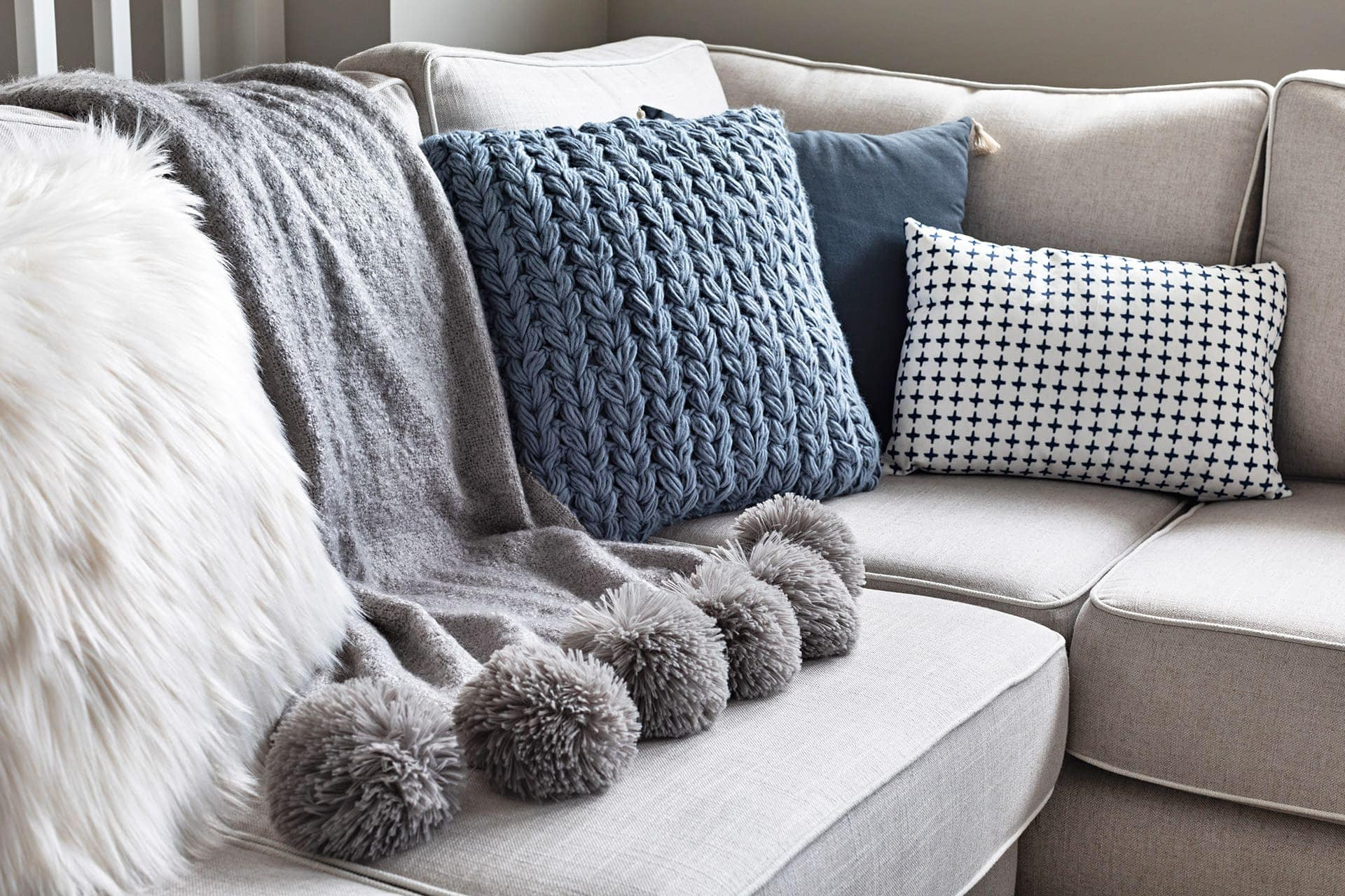 big w blue knit cushion winter homewares range