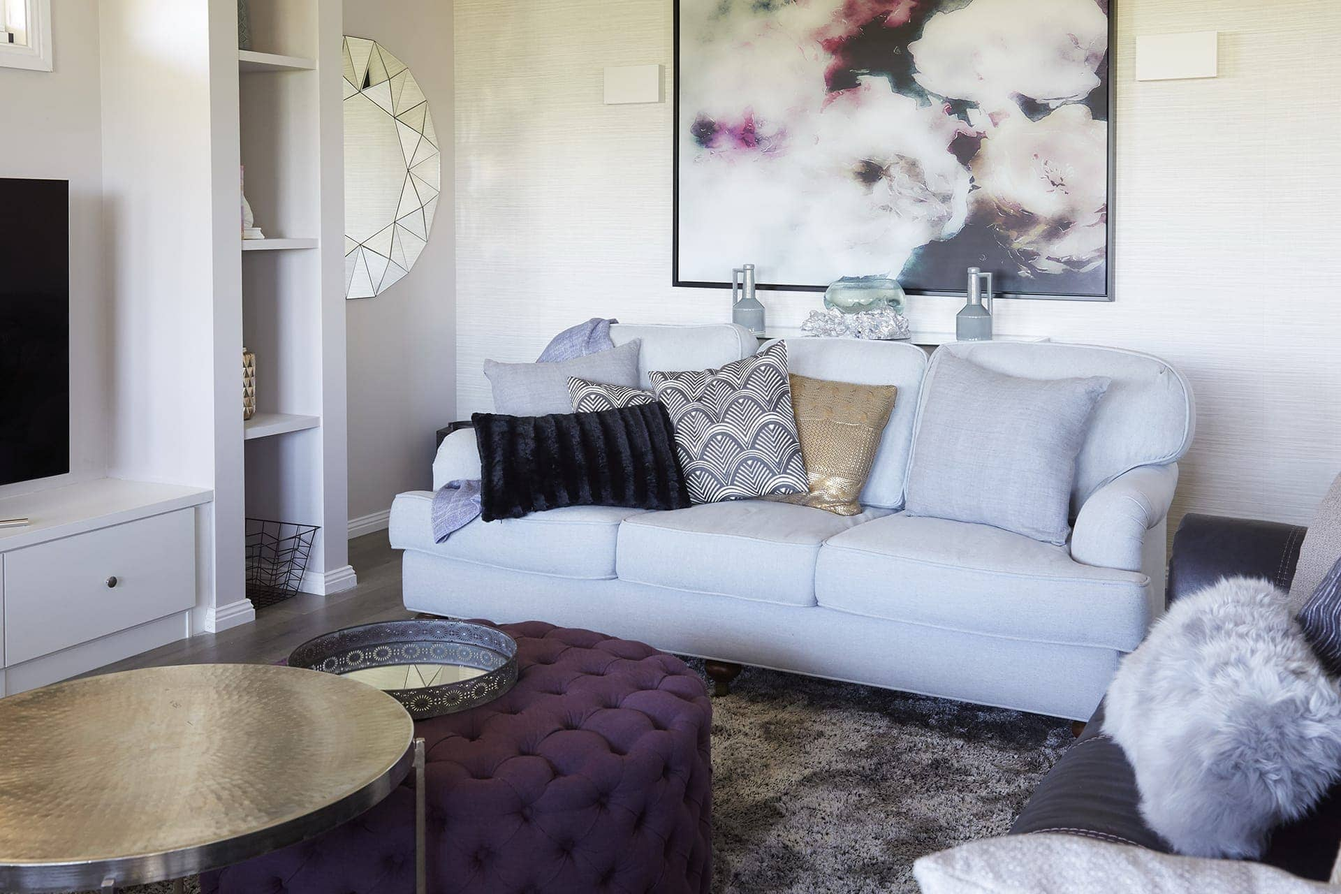 house rules 2018 kim and michelle grey and purple living room