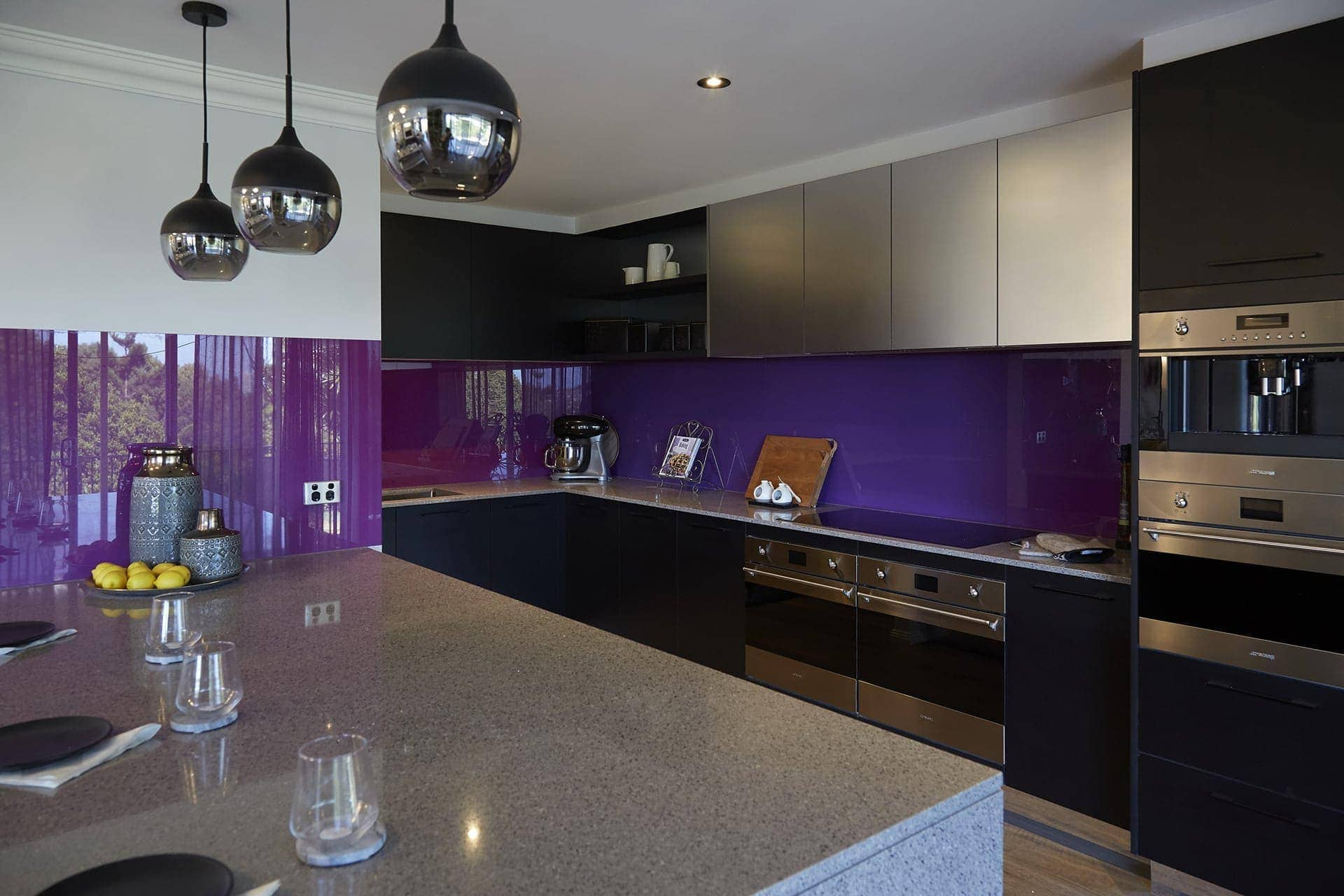 house rules 2018 kim and michelle kitchen with purple splashback