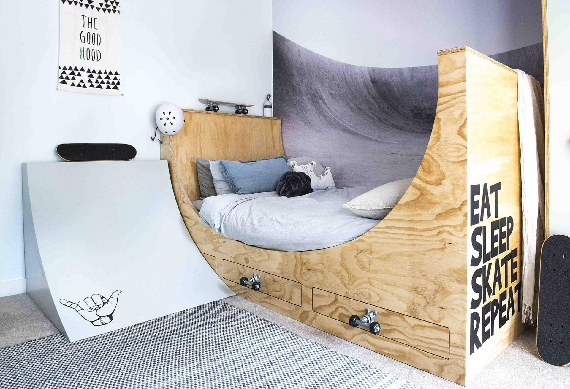 house rules 2018 leigh and kristie boys room with skateboard bed