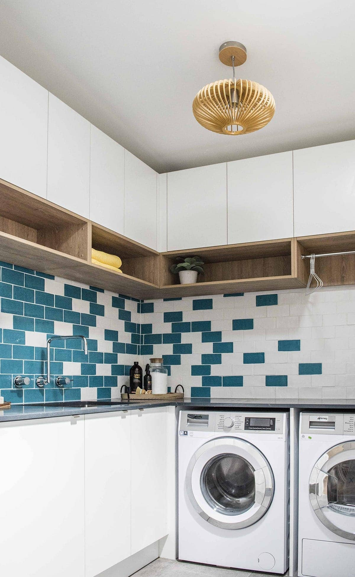 house rules 2018 leigh and kristie laundry with teal tiles
