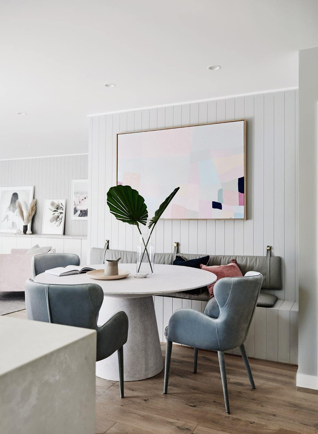 norsu interiors house dining room with light blue velvet dining chairs