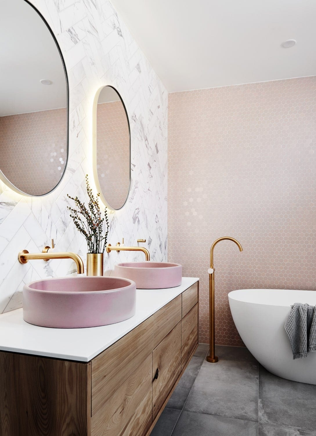 norsu interiors house pink bathroom vanity